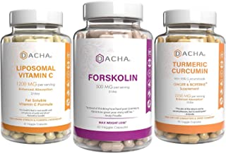 Ultra Strength Immune & Weight Loss Bundle - Forskolin, Liposomal Vitamin C & Turmeric Curcumin, Antioxidant Packed, Detox...