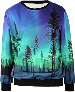 Pandolah Neon Galaxy Cosmic Colorful Patterns Print Sweatshirt Sweaters