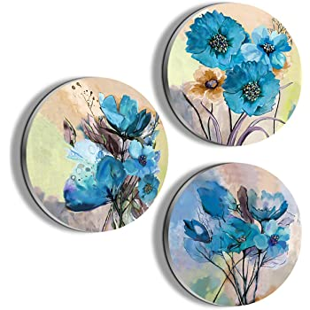 Amazon Com Wall Art For Dining Room Blue Flower Painting Wall Decor Oil Painting Canvas Prints For Home Decorations To Hang For Bathroom Bedroom Living Room Kitchen Wall Round Decor Everything Else