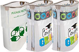 Party City Multicolor 2019 Graduation Clean-Up Supplies with 2 Matching Reusable Pop-Up Trash Bins and Recycling Bin