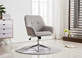 Porthos Home Designer Arms, Lumbar Support, Height Adjustable Bonus 5 Easy Change Footers, 360-Degree Swivel, Premium Design, Luxury Modern Office Chair Grey 34-37 x 24 x 26 Inch One Size Gray