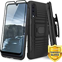 TJS Case for Samsung Galaxy A50 2019, with [Full Coverage Tempered Glass Screen Protector] Belt Clip Holster Impact Resistant Magnetic Support Hybrid Kickstand Heavy Duty Armor Phone Cover (Black)