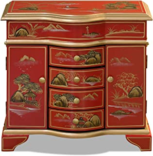 ChinaFurnitureOnline Chinoiserie Jewelry Cabinet, Hand Painted Chinese Mountain Landscape Matte Red