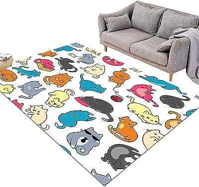 KORANGE Rectangle Area Rugs Living Room Accent Rug Bedroom Floor Rug Accent Area Carpet Cartoon Cat Pattern (Size : 120cm×185cm(4' x 6'))