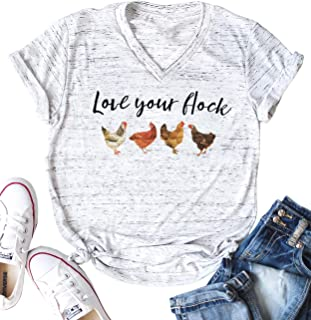 Love Your Flock Shirt Cute Chicken Graphic Tees Women V-Neck Letter Print Short Sleeves Casual Tops T Shirts