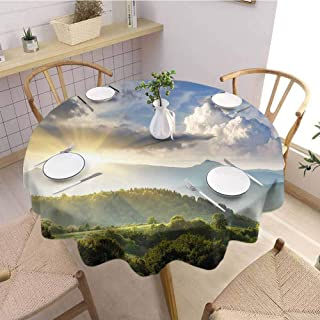 S-ANT Tassel Round Tablecloth Nature,Rising Sun Clouds Over Forest Hill Woodland Idyllic Countryside View,Olive Green Blue Yellow Wedding Patio Dining Dorm D66