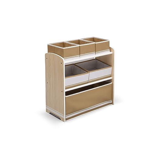 Delta TB84572GN - Mobiletto multi-ripiano con 6 cassetti in tela, colore bianco/naturale
