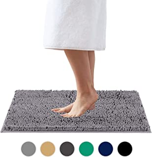 Colorxy Shaggy Chenille Loop Bathroom Rugs - Solid Shag Washable Bath Mat Runner Non Slip, Soft, Plush for Bathroom Shower with Water Absorbent Memory Foam (Neutral Gray, 16'' X 24'')