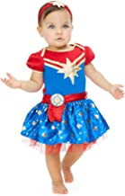 Captain Marvel Girls Short Sleeve Costume Dress & Headband Superhero Cosplay