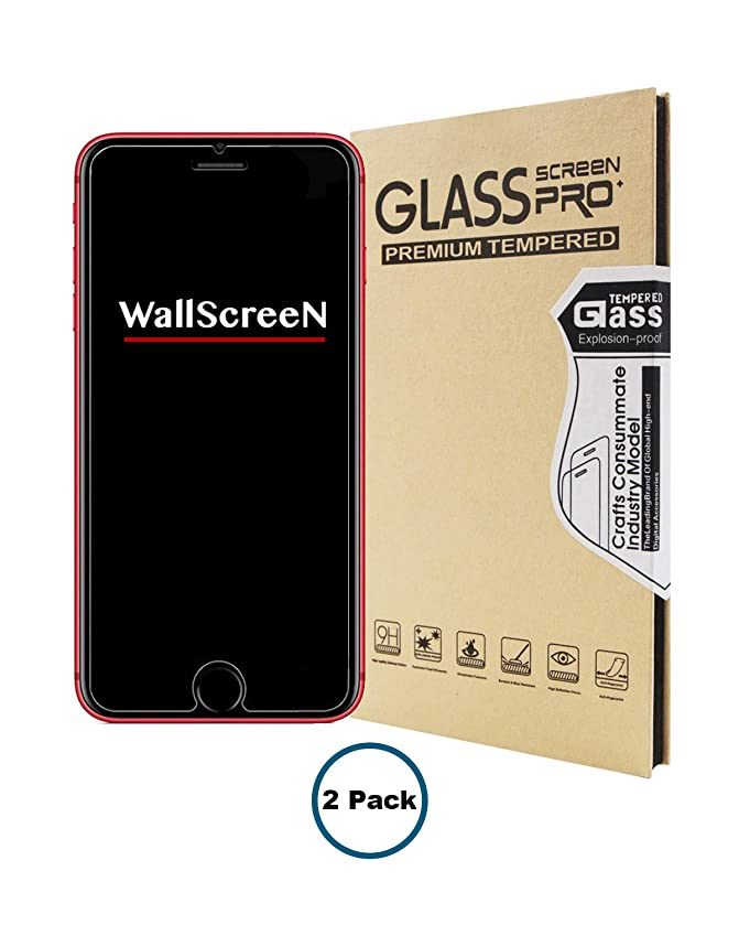 WallScreeN Protector for iPhone 7 / iPhone 8 (Only) Tempered Glass Protection with [9H Hardness] [HD Clarity] [3D Touch] - Crystal Clear (2 Pack)
