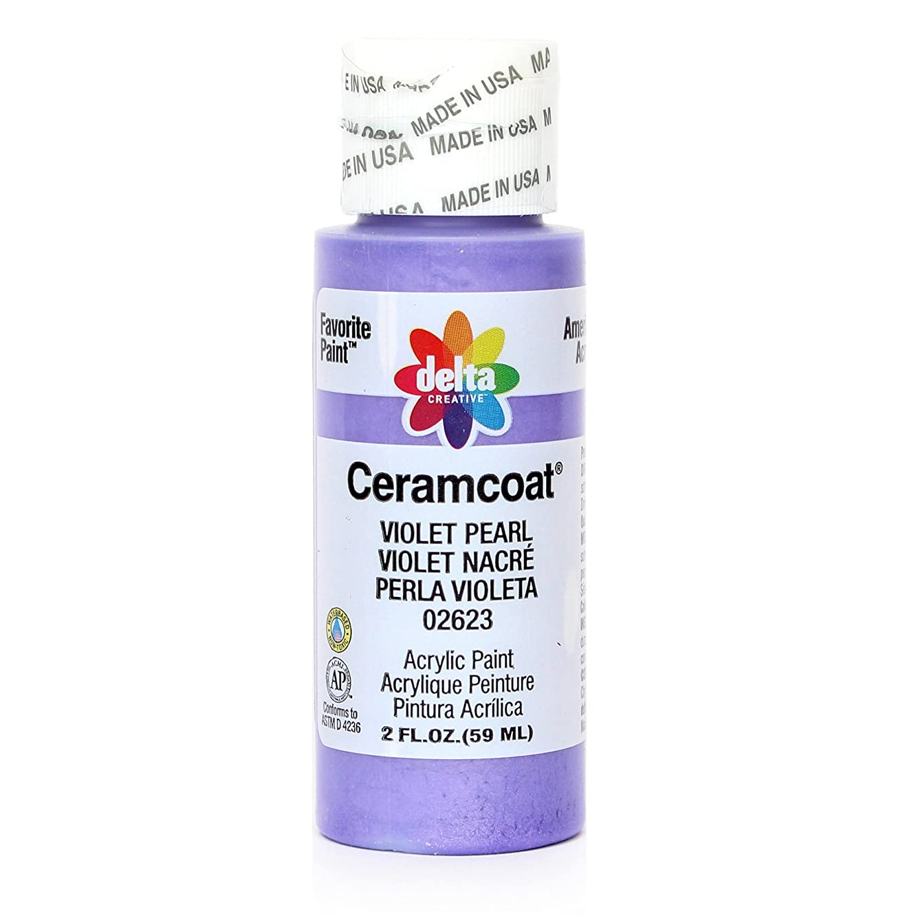 Delta Creative Ceramcoat Metallic and Pearl Acrylic Paint in Assorted Colors (2 oz), 2623, Violet Pearl