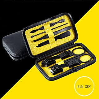Manicure Set, JKODROM 7PCS Stainless Steel Pedicure Kit Nail Clippers Professional Grooming Kit Nail Tools with Black Leather Travel Case Yellow