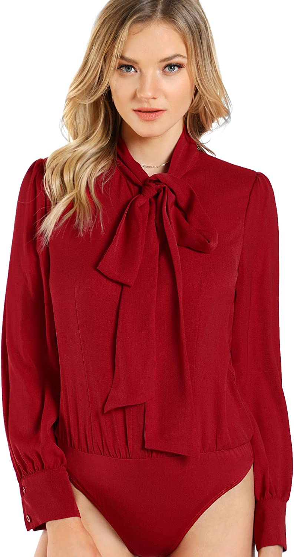 DIDK Women's Long Sleeve Bow Tie Neck Plain Blouse Bodysuit
