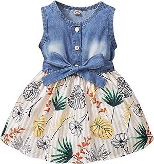 Toddler Baby Girl Clothes Summer Girl Dresses Outfit Infant Denim Sundress Jeans Tutu Skirt Short Sleeve Dress for Girl