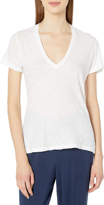 Monrow Fort Worth Mall Women's Oklahoma City Mall Short Shirt Slub V-Neck