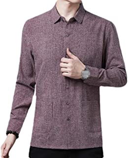 CRYYU Men Long Sleeve Solid Casual Oxford Button Down Shirt with Pockets