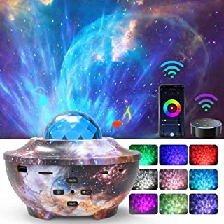 Star Night Light Projector,Homcasito Smart WiFi Galaxy Ocean Wave Projector with Bluetooth Speaker21 Lighting Work with Al...