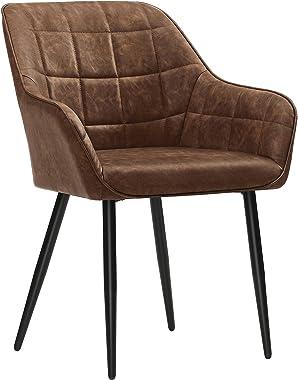 SONGMICS Chaise de salle à manger, Fauteuil, Siège rembourrée, avec accoudoirs, revêtement en PU vintage, pieds en métal, cha