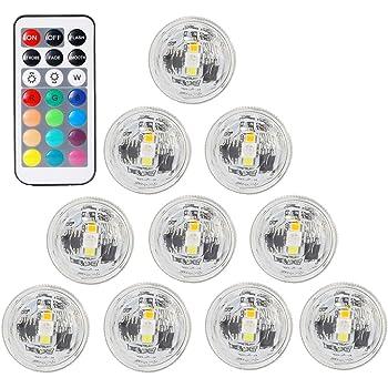 BigFox LED潜水キャンドルライト リモコン付き 防水 花瓶ライト 小型ローソクライト 全13色に切替 電池式 クリスマス/ウェディング/パーティー/誕生日に最適 (10ライト +1リモコン)