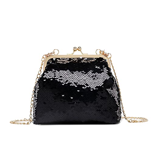 0e5e981b7e Lam Gallery Sparkling Sequins Clutch Purse Bling Glitter Evening Clutch  Chain Shoulder Bag