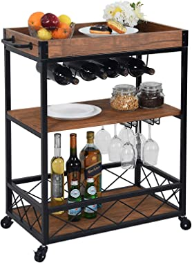 CHARAVECTOR Bar Cart Kitchen Bar&Serving Cart for Home with 3 -Tier Storage Shelves Kitchen Island Cart,Metal Wine Rack S