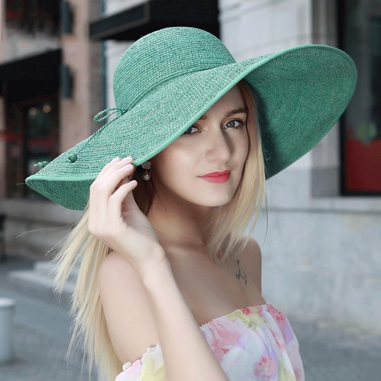 Women's straw hat sun hat foldable wide edge summer outdoor sun hat ( color   B )