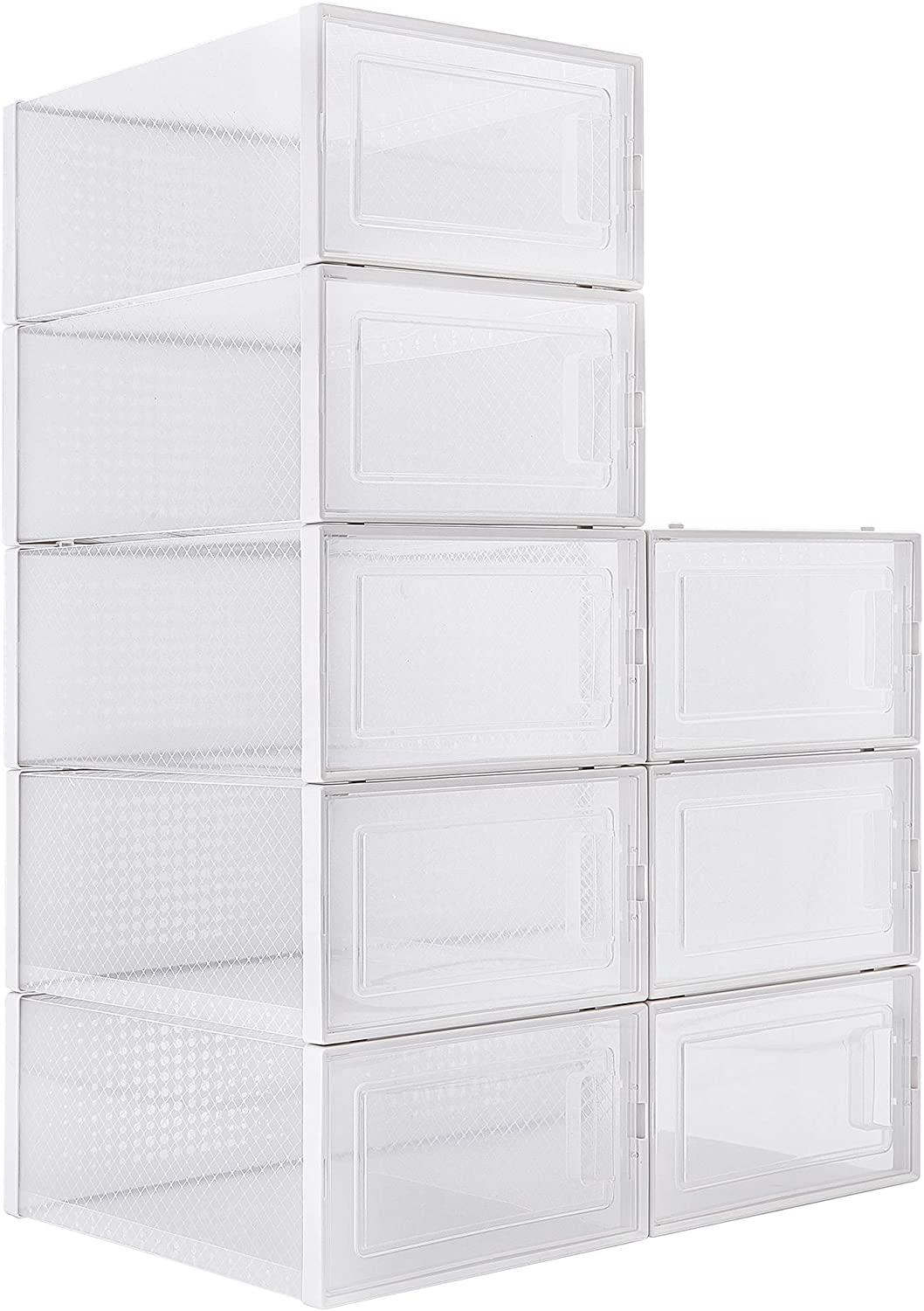 WAYTRIM Foldable Shoe Box Stackable St Clear 4 years warranty Storage service -