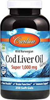 Carlson - Cod Liver Oil Gems, Super 1000 mg, 250 mg Omega-3s, Wild-Caught Norwegian Arctic Cod-Liver Oil, Sustainably Sourced Nordic Fish Oil Capsules, Lemon, 250 Softgels