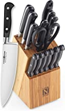 Cook N Home 02630 15-Piece Knife Set with Bamboo Storage Block, Stainless Stee, Silver