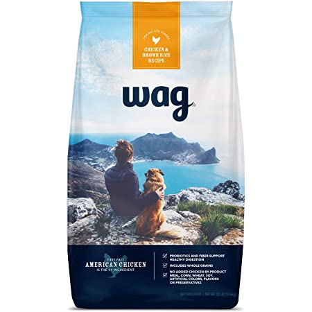 Amazon Brand - Wag Dry Dog Food with Grains (Chicken/Salmon/Beef and Brown Rice)