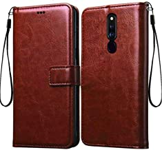 Frazil Vintage Flip Cover Case for Oppo F11 Pro Leather | Inner TPU | Foldable Stand | Wallet Card Slots - Walnut Brown
