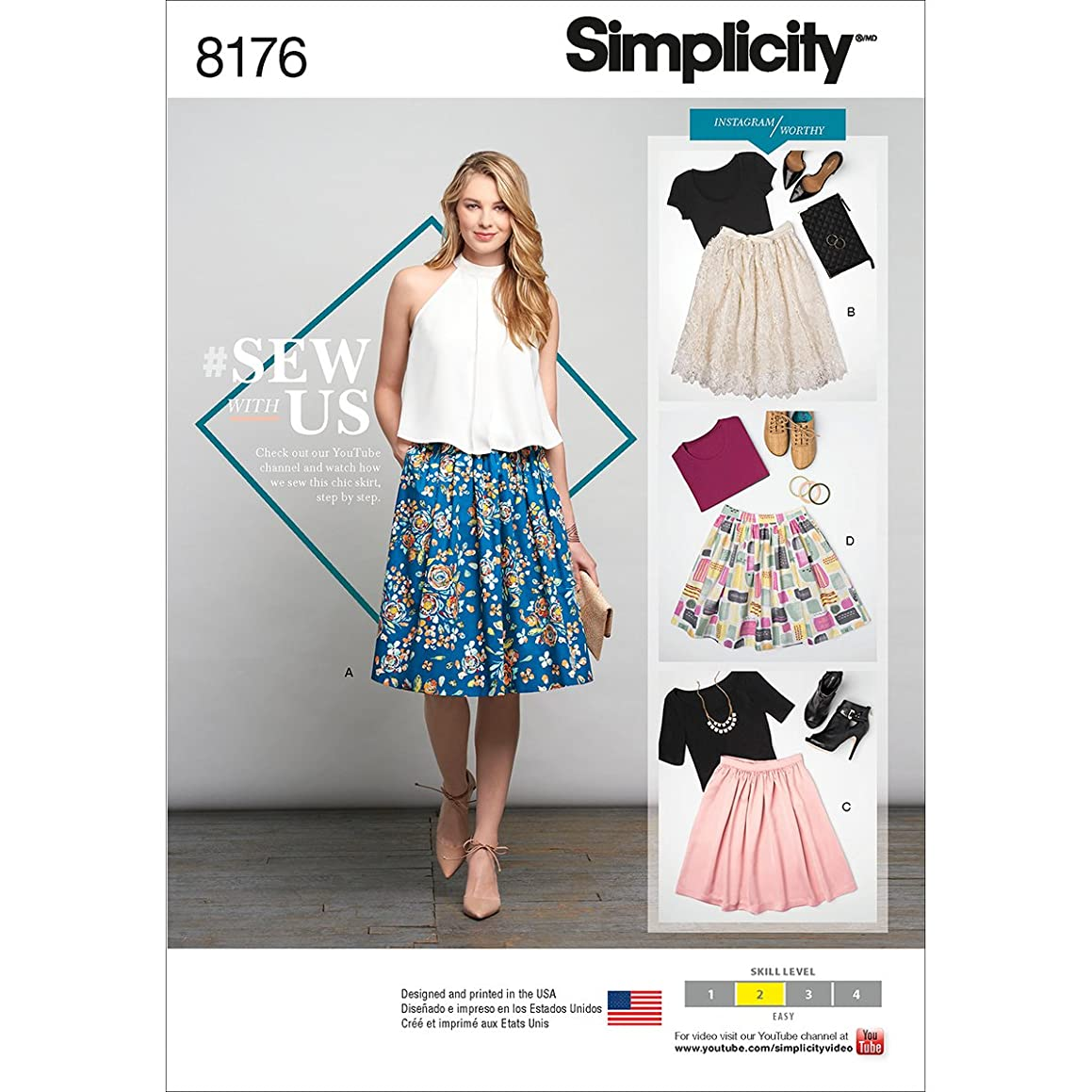 Simplicity 8176 Dirndl Skirt Sewing Pattern for Women, Sizes R5 (14-22)