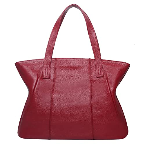 e0d2179893 Leathario Women s Vintage Casual Simple Style Soft Genuine real Leather  Tote Large Shoulder Bag