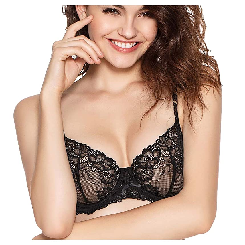 Eve's temptation Martina Unlined Floral Lace Demi Bra for Women Comfortable Support Underwire Lingerie