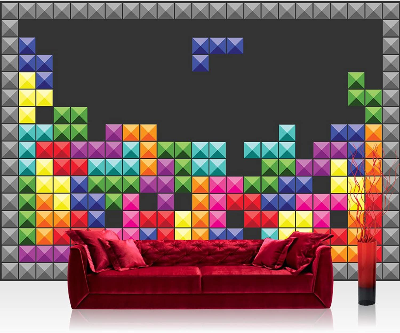 Fototapete 254x184 cm PREMIUM Wand Foto Foto Foto Tapete Wand Bild Papiertapete - Illustrationen Tapete Tetris Illustration Rechtecke Kacheln Muster bunt - no. 1787 B01MQTFEX2 9b47ae