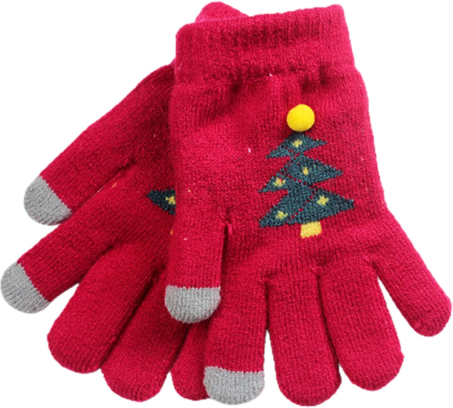 Winter Gloves for Women, Christmas Stretchy Warm Knit Glove Full Finger Cartoon Tree Plush Warm Thermal Soft Lining Mittens