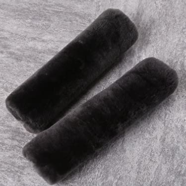 2 Pack Automotive Authentic Sheepskin Car Seat Belt Pads, Soft Shoulder Pad, Neck Cushion Protector, Genuine Natural Merino Wool (Carbon Black)