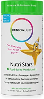 Rainbow Light - Nutristars® Chewable Multivitamin - Supports Nutrition, Immunity, Energy, and Digestion in Kids - 120 Tablets