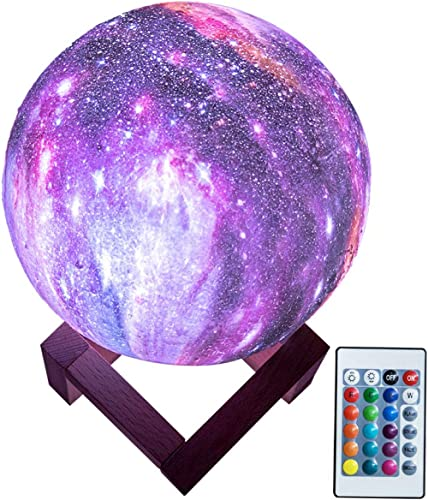 BRIGHTWORLD Moon Lamp Kids Night Light Galaxy Lamp 5.9 inch 16 Colors LED 3D Star Moon Light with Wood Stand, Remote ...