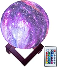 BRIGHTWORLD Night Light for Kids, Moon Lamp 16 Colors LED-3D Star Moon Light with Wood Stand, Remote & Touch Control/Dimmable Rechargeable Baby Light for Lover Friends Birthday (5.9 inch)