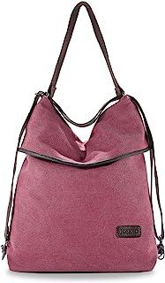 JOSEKO Canvas Tasche Segeltuch Schultertasche Damen Rucksack Handtasche Vintage Damen Umhängentasche für Reise Outdoor Schule Einkauf Alltag Büro Rot