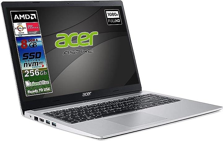 Pc portatile acer silver new athlon 3050u ram 8 gb ddr4 ssd m.2 pci da 256gb display full hd da 15 6 pollici B07ZM77QCZ