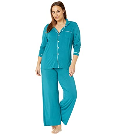 Kickee Pants Plus Size Collared Pajama Set (Oasis/Jade) Women