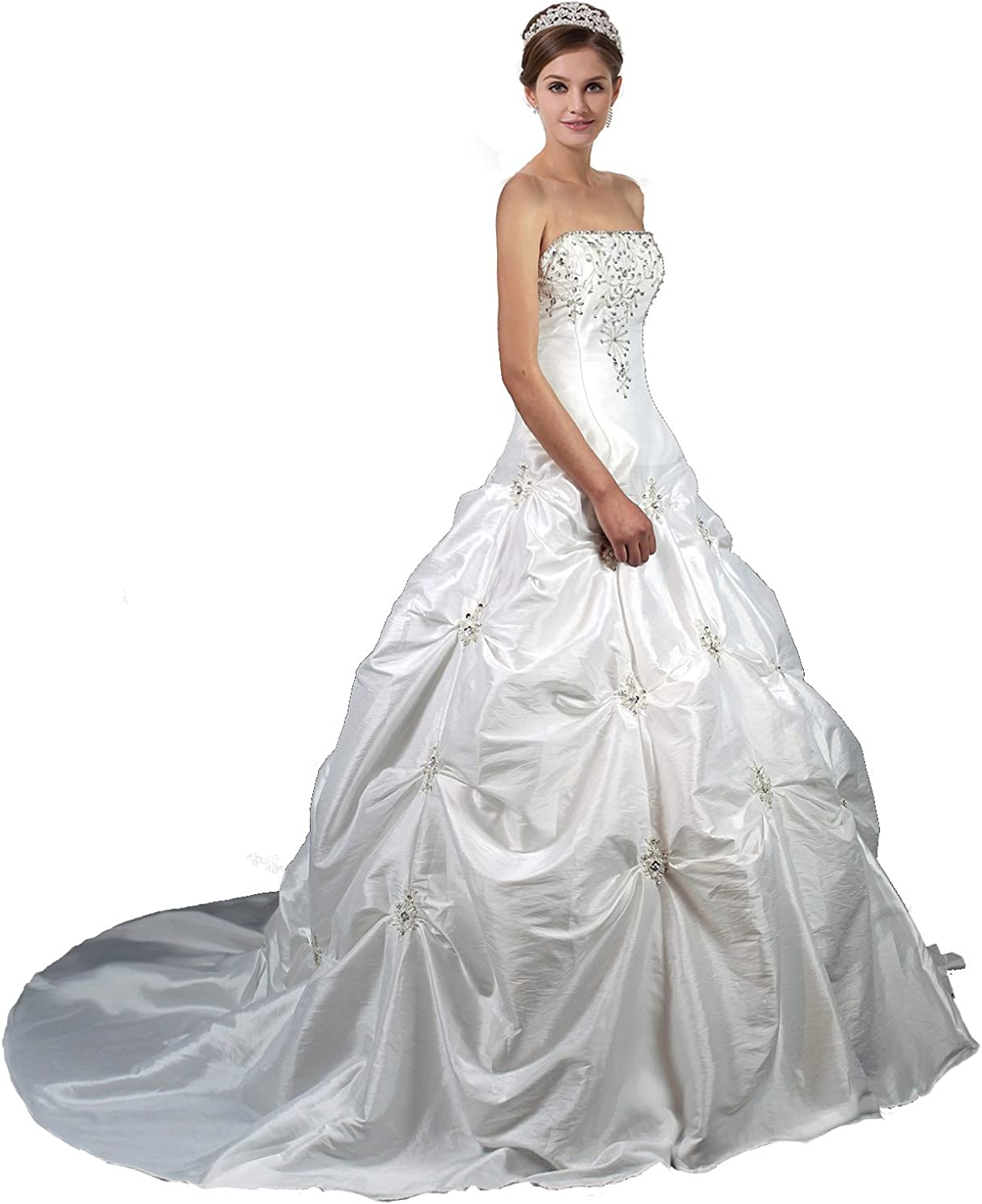Faironly M58 White Ivory Wedding Dress Bride Gown (Ivory)