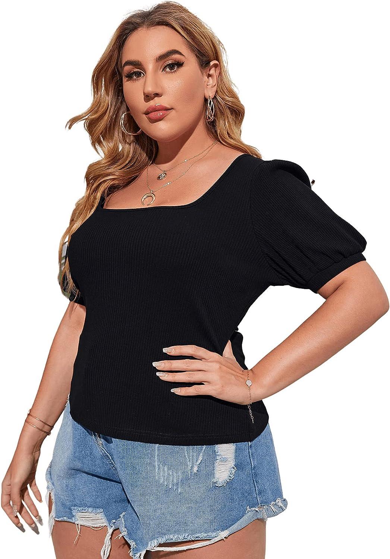 Floerns Women's Plus Size Scoop Neck Puff Short Sleeve Rib Knit Tee Shirts