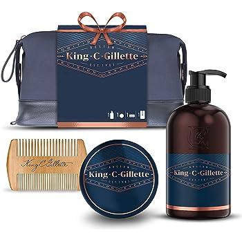 King C. Gillette - Kit per la cura della barba da uomo, per barba e viso + balsamo + pettine, idea regalo per lui/papà