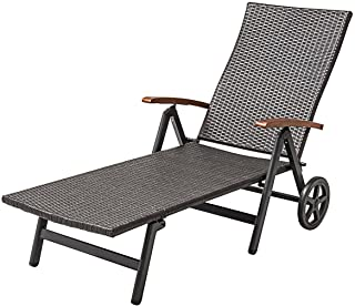 Outdoor Chaise Lounge with 2 Wheels for Easy Movement Folding Recliner 7 Adjustable Position Rattan Lounge Chair Heavy Dut...