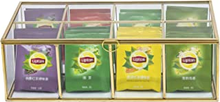 Glass Tea Box Organizer Sugar Packets Storage Decor 8 Grids Compartments Divided Handcrafted Brass Metal Frame Jewelry Counter Top Display Case Large