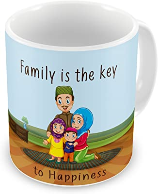 Gift for Family Mom Dad Son Daughter Birthday Anniversary Family is Key to Happiness Blue Printed Best Quality Ceramic Mug Everyday Gifting