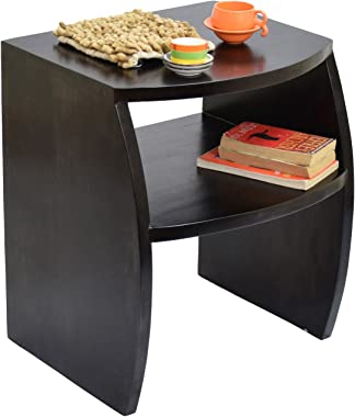 TimberTaste FANTA Solid Sheesham Wood Side, End Accent Table (Lacquer Finish, Dark Walnut)